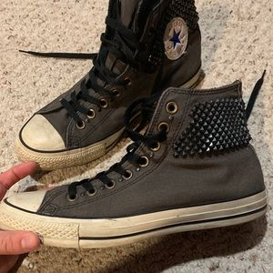 Dark gray studded high top converse